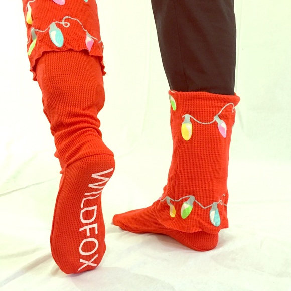 red wildfox holiday light up glow socks