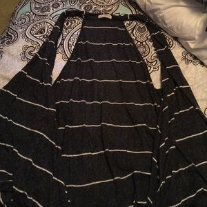 Jackets & Blazers - Long plus size gray and white stripped Vest size 3