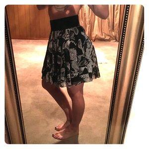 High waisted, pleated chiffon skirt