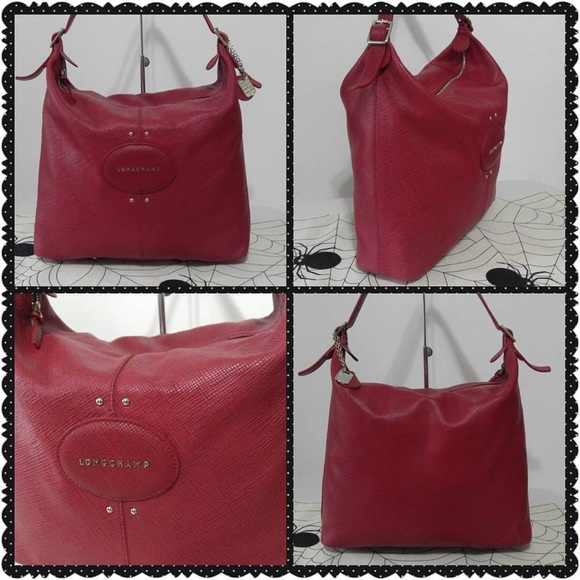 bac29ea2f7f57 Longchamp Handbags - Ruby Red Leather Longchamp Quadri Hobo