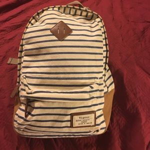 Navy Striped Backpack