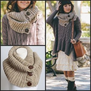 Accessories - Mocha Infinity Scarf With Buttons