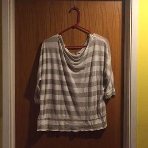 Romy Tops - Romy white and grey striped shirt