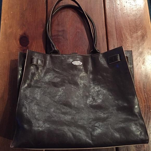 e0a3106c4501 Furla Handbags - Furla Dark Brown Leather Adjustable Tote.