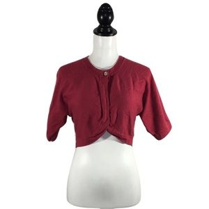 Anthropologie Sweaters - ❗️Final❗️Anthro Red Short Sleeve Cropped Cardigan
