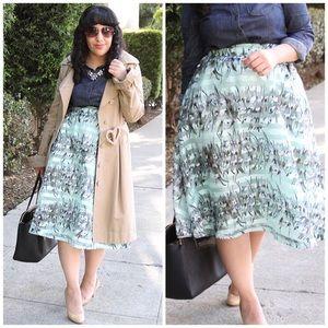 J.O.A. Dresses & Skirts - J.O.A. Los Angeles Floral Stripe Midi Skirt