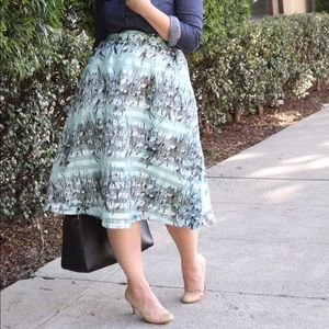 J.O.A. Los Angeles Floral Stripe Midi Skirt