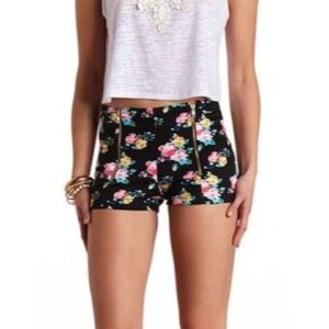 Charlotte Russe Pants - Floral high waisted shorts