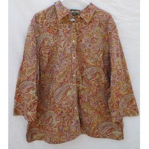 Ralph Lauren Tops - Ralph Lauren Paisley Pattern Button Up Blouse