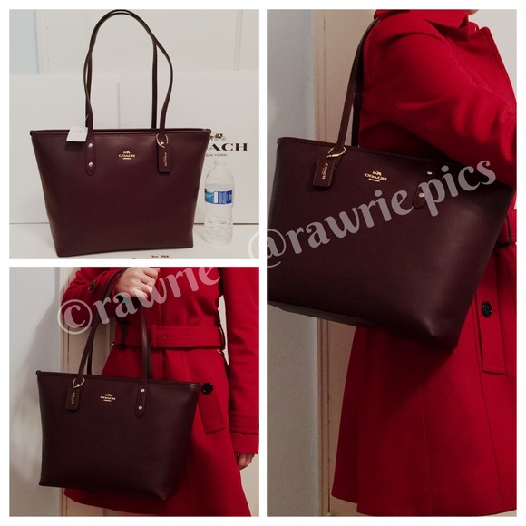 cf7ccf0146 New Coach Ox Blood Burgundy leather city zip tote