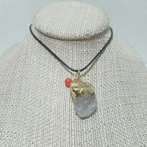 Quartz crystal adjustable necklace handmade