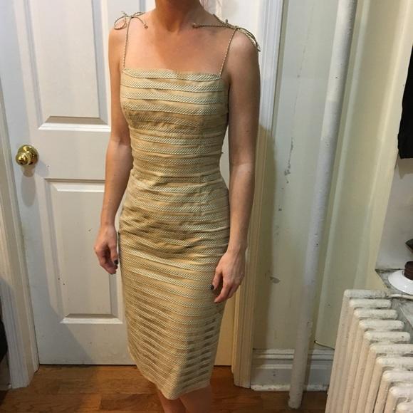 Betsey Johnson Dresses & Skirts - Betsey Johnson Tan Plaid Striped Midi Dress