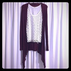 ModCloth Sweaters - • Marled Burgundy Cardigan •