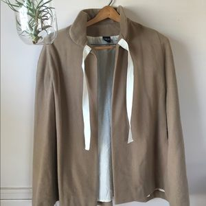 Jackets & Blazers - Tan & cream wool cape/poncho
