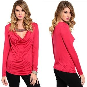 Red Long Sleeve Embellished Neck Band Top