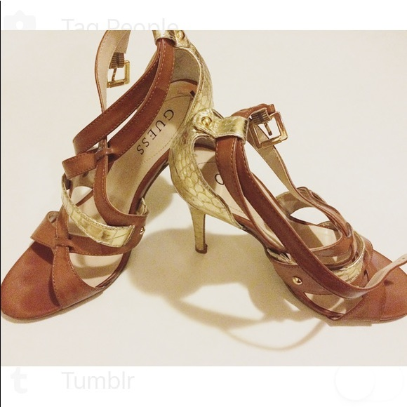 """Guess Shoes - GUESS heels w gold """"snakeskin"""""""