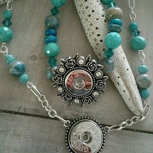 Jewelry - Crazy lace agate/turq./swarovski gingersnap bracel