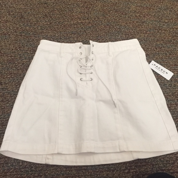 795702fdb Dresses & Skirts - Kendall & Kylie lace up white denim skirt