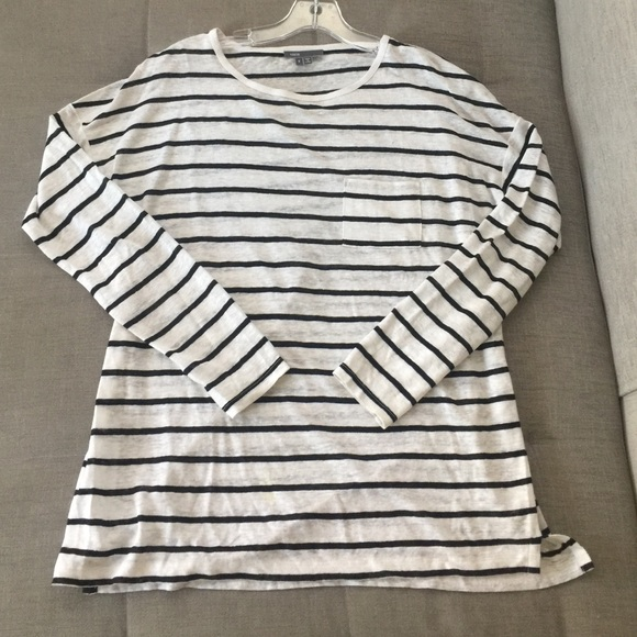 07104f83aabe24 Vince Boxy Linen Striped Top. M 57fe361bc28456fba00019a5