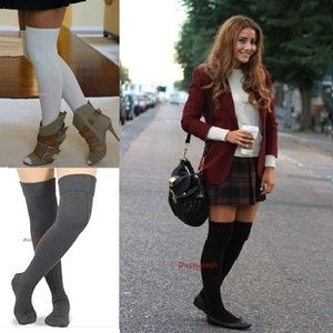HUE Accessories - Cable Knit Over The Knee Socks Cuff Thigh High OTK