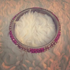 Pink and gold rhinestone bracelet