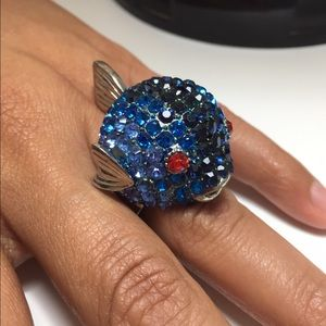 Jewelry - Blue Rhinestone Fish Ring