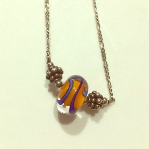 Orange and Blue Glass Art Necklace