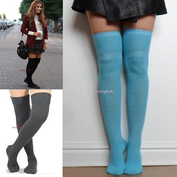 fbbf48d9cc313 HUE Accessories   Knit Thigh High Over The Knee Socks Long Boot Cuff ...