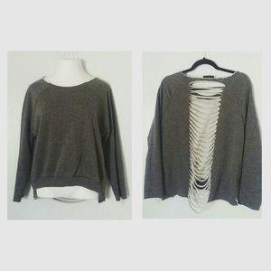 Vintage 55 Sweaters - Shredded open back sweater