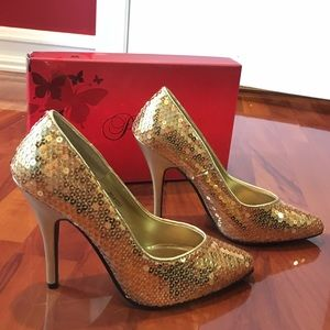 Costume National Shoes - New. Festive Costume Gold Sequin Heels