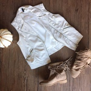 H&M Jackets & Coats - White Faux Leather Vest // H & M // size S- M