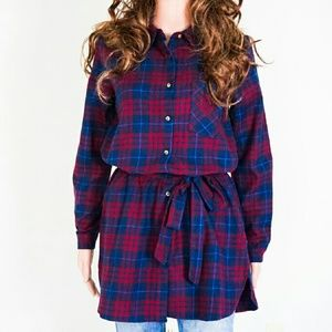 Tops - Belted Plaid Top