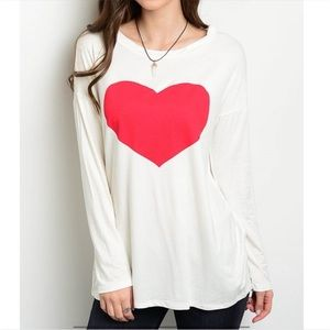 Tops - White Heart Top