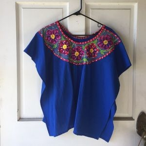 Tops - Traditional Mexican Blue Blouse