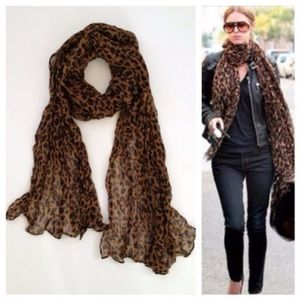 Accessories - Long Leopard Scarf