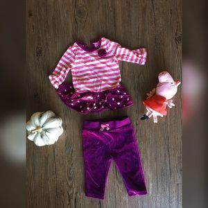 Baby 6 - 9 m // magenta shirt & velour pant bundle
