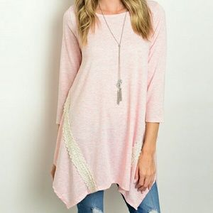 Tops - Pink Tunic with Lace Detail