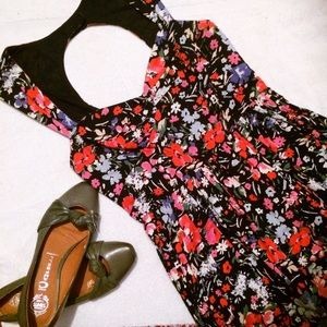Free People Floral Pinup Style Open Back Sundress