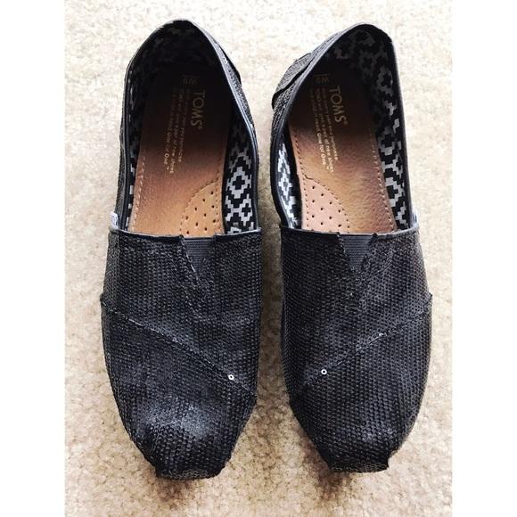 1409eb33c101 TOMS Shoes | Black Sequin Glitz Womens Classics | Poshmark