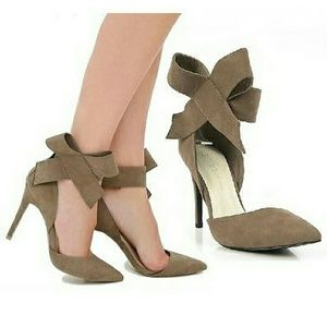 Wild Diva Shoes - Taupe Bow-tie Heels