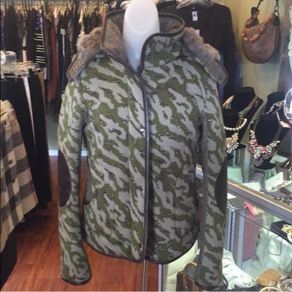 b7fbcc78ebdff Mackage Jackets & Blazers - Mackage camo tweed jacket w/ fox fur hood  leather