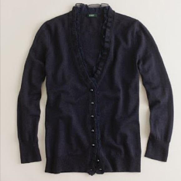5dec13374c5 J. Crew Sweaters   J Crew Placket Black Ruffle Wool Cardigan Sweater ...