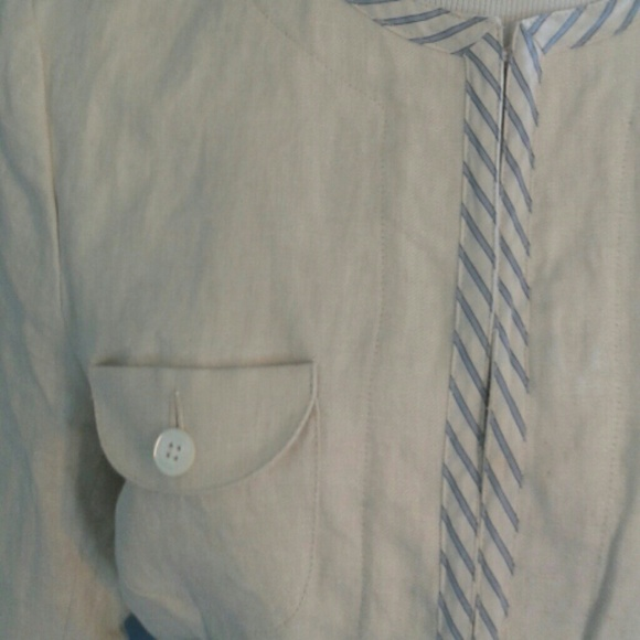 Lands' End - Cream linen lightweight jacket with 3/4 sleeves. from ...