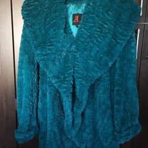 Adrienne Landau Jackets & Blazers - Turquoise color faux fur coat