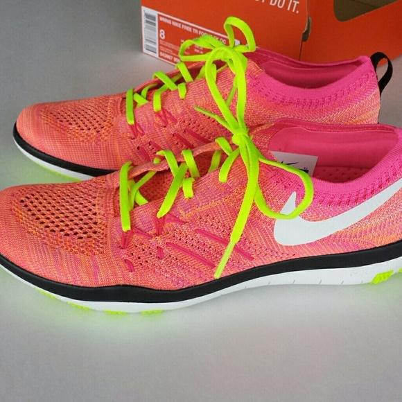 Women's Nike Flyknit Free Focus Orange Running Shoes Size 10