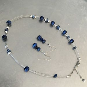 Jewelry - Blue beaded necklace and earring set