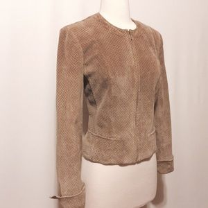 Anne Klein Jackets & Blazers - Anne Klein Tan & Gray Printed Suede Jacket