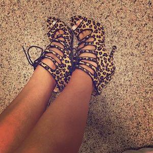 Nordstrom Shoes - Nordstrom Leopard Print Lace Up Heels NEW Zigisoho
