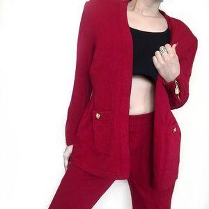 St. John Jackets & Blazers - • St. John • Red Knit Pant and Cardigan
