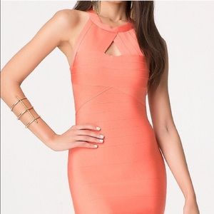 Bebe orange bandage dress